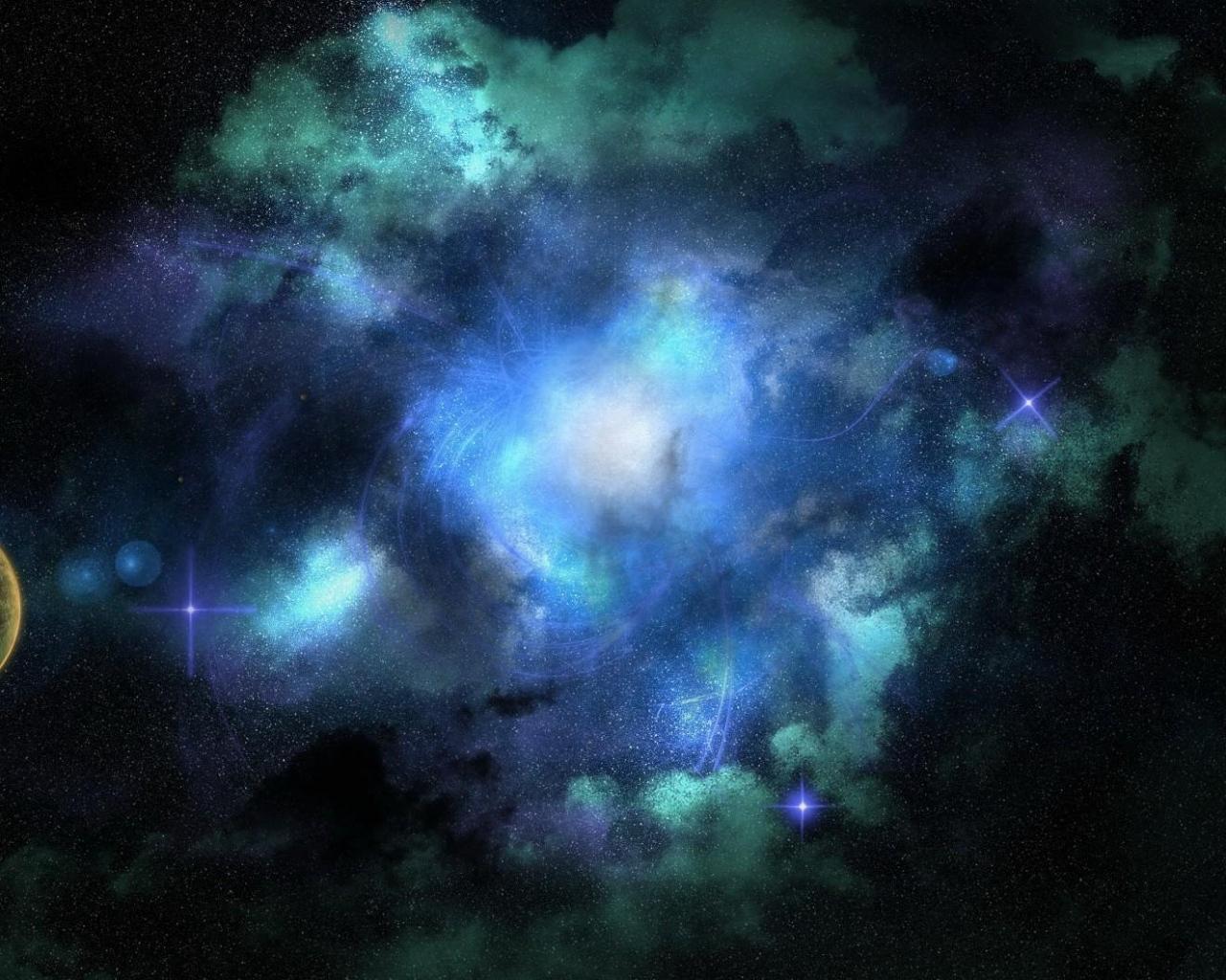 Planet universe stars nebula light 68886 1280x1024
