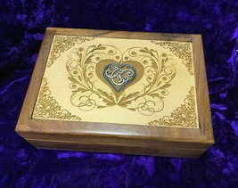 Beautifull Carved and Etched Heart Box Cermony Box Tarot Cards Ritual Box - $28.71