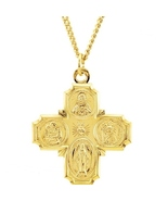 """24K Gold Over Sterling   Four-Way Medal - 24"""" Chain   Similar to Ingraha... - $99.99"""