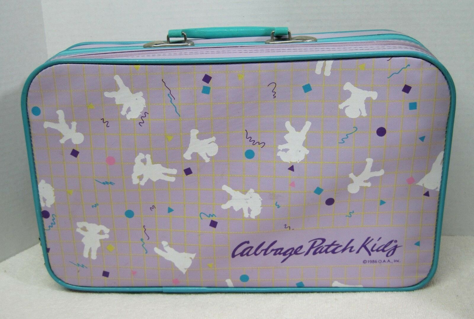 1986 Cabbage Patch Kids Purple and Turquoise Suitcase Has Slight Wear Good Zippe - $36.14