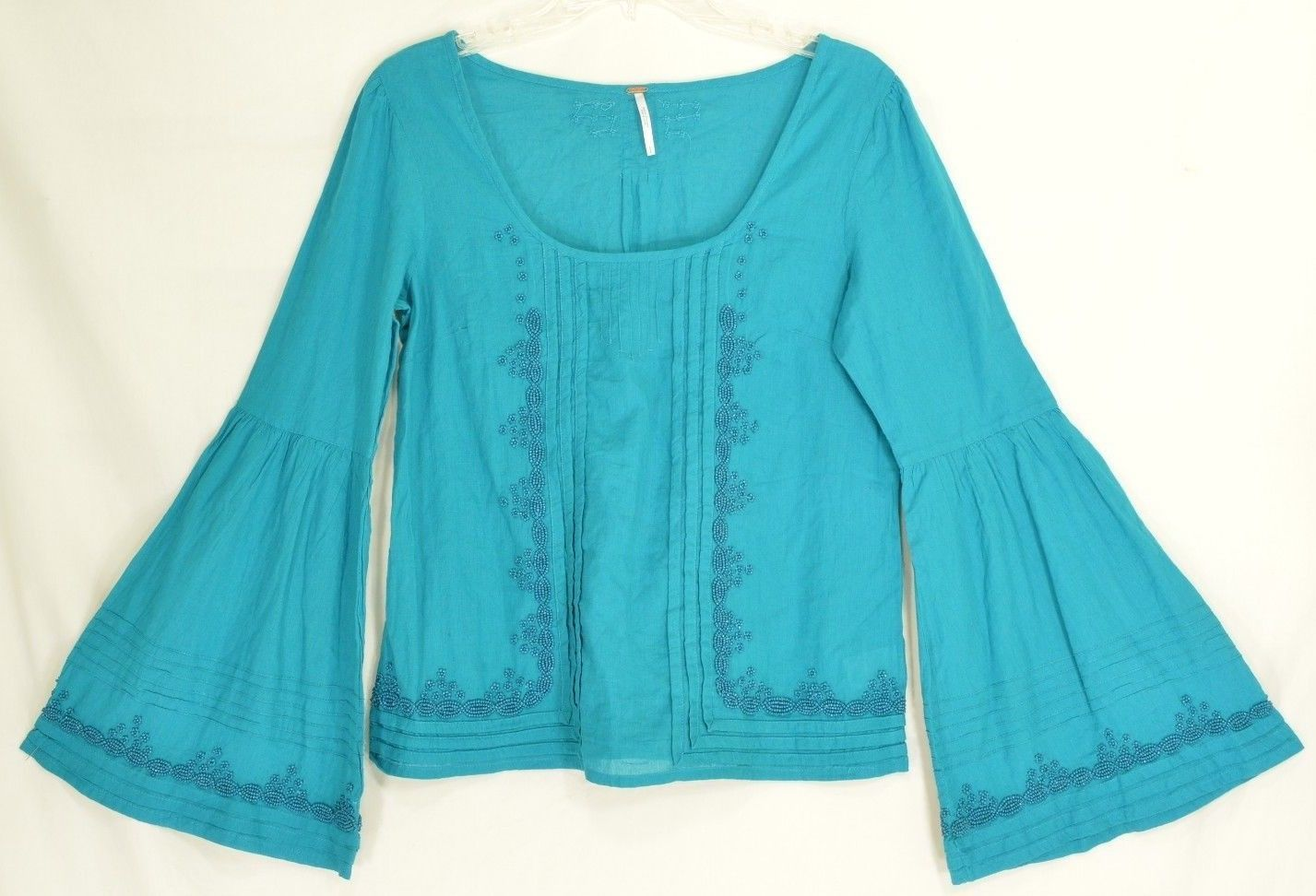 Free People top SZ S turquoise teal beaded long bell sleeves hippie boho gypsy image 4