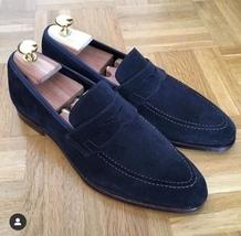 Handmade Men's Navy Blue Suede Slip Ons Loafer Shoes image 1