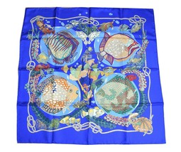 Hermes Scarf GRANDS FONDS Silk 90 cm Sea Fish Blue Carre Shawl Stole ME25 - $414.81