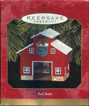 Hallmark Keepsake Ornament - Red Barn Pressed Tin ~ Dated 1999 - $4.94