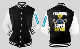Training To Be Super Saiyan Dbz Varsity Baseball Fleece Jacket W Sleeve Logo - $41.57