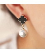 Clover Earrings Alhambra 1-Motif Black White Gold Lucky Four Leaf Pearl ... - $18.39 CAD