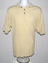 Mens Tommy Bahama Small Yellow Polo Shirt Silk Cotton Mix Waffle Design - $16.01