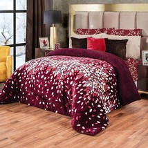 Tinto Floral Burgundy Flannel Sherpa Extra Soft Blanket with Thick Soft Wadding - $74.20+