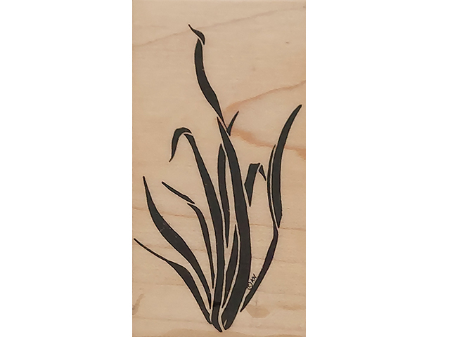 Mostly Animals Aquarium Grass Wood Mounted Rubber Stamp