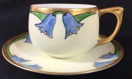 Antique Noritake Nippon Hand Paint Blue Bell Flower Gilt Porcelain Teacu... - $37.04