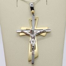 SOLID 18K WHITE YELLOW GOLD PENDANT DOUBLE CROSS, JESUS, SATIN, MADE IN ITALY image 4