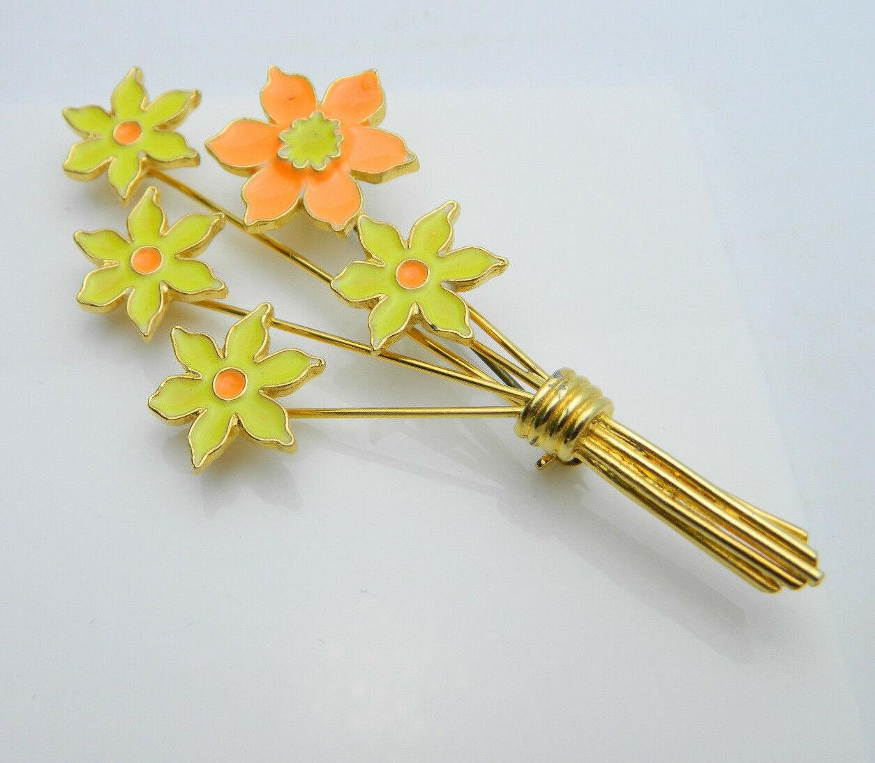 Yellow Orange Enamel Flower Bouquet Gold Tone Pin Brooch Vintage