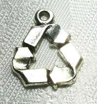 RECYCLING SYMBOL FINE PEWTER PENDANT CHARM 18x14.5x2mm image 2