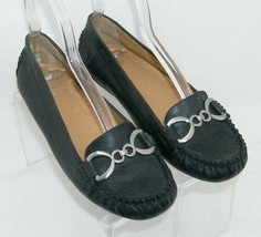 Franco Sarto The Artists Collection black leather round penny loafer flats 6M - $33.30