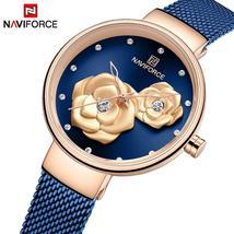 NAVIFORCE Women Watch Top Brand Rose Gold Blue Quartz Ladies Watches Ste... - $35.99+