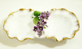 LEFTON China Hand Painted DOUBLE Candy Dish PURPLE FLOWERS Gold Trim RHI... - $17.81