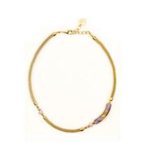 MILENA Necklace Purple and Gold Murano Glass - $72.00