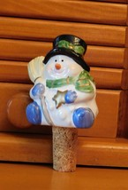 Ceramic Snowman Bottle Stopper Wine Cork Christmas Holiday
