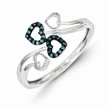 STERLING SILVER BLUE & WHITE DIAMOND MULTI HEART FREE FORM RING - SIZE 6 - £60.02 GBP