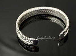 Mens Sterling Silver Bracelet Woven Braided Bangle Cuff Handcrafted Hip Hop b22 image 2
