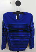 Alfani Men's Dark Side Combo Blue Regular-fit Texture Striped V-neck Sweater XL - $17.95