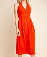 Red Halter Top Dress, Red Button Up Dress, Halter Top Dress, Womens - €48,53 EUR