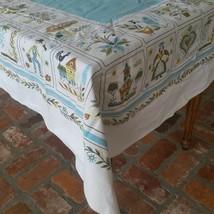 "Vintage blue and white folk art print tablecloth 46"" X 64"" - $20.73"