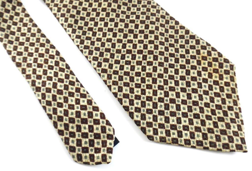 Gap Necktie Tie Silk Olive Green Maroon Squares Geometric Pattern