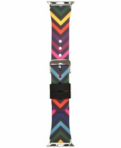 I.N.C. Womens Black Silver Rainbow Chevron Silicone 38mm Apple Watch Band Strap image 2