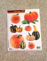 Static Window Clings Pumpkin Gourd Thanksgiving Autumn Fall New - $8.42