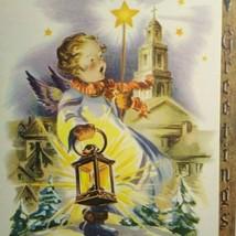 Mid Century Modern Angel Wings Holds Lantern Christmas Greeting Card Vin... - $14.85