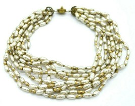 Miriam Haskell Nine Strand Faux Pearl Glass Bead Choker Necklace Vintage - $247.49
