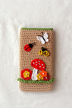Funny crochet phone cover, Smart phone case, Crochet phone case pouch, i... - $15.20