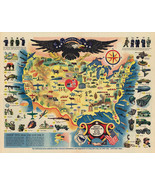 """23""""x29.5"""" Map 1944 Pictorial Military WWII War Bonds History Wall Poster Vintage - £19.08 GBP"""