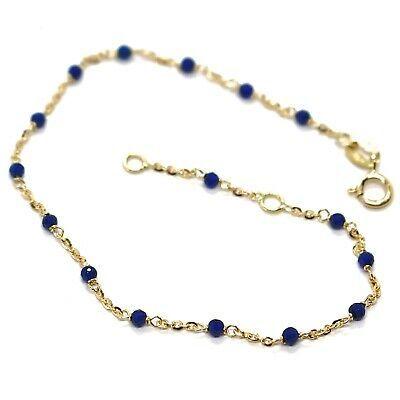 Bracelet or Jaune 18K 750, Cubic Zirconia Bleu, Sphères à Facettes, Rolo Ovale