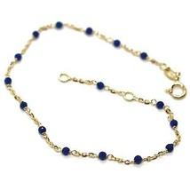 Bracelet or Jaune 18K 750, Cubic Zirconia Bleu, Sphères à Facettes, Rolo Ovale image 1