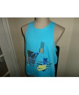 Rare Vtg  80's Blue Nike Gray Tag Abstract Spell Out Swoosh Sleeveless T... - $49.45