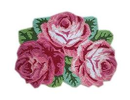 Pretty Bath Rug Three Pink Roses Rug for Hallway, Living Room 31.523.5 I... - $49.93