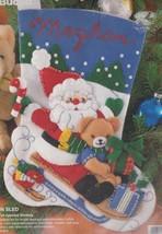 Bucilla Santa on Sled Bear Cardinal on Skis Christmas Felt Stocking Kit ... - $24.95