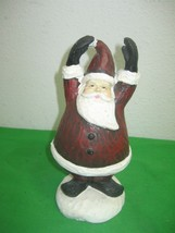 Cheerful Resin Santa Clause Piece on Stand on Snow Christmas Decor Arms ... - $12.16