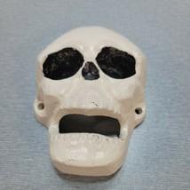 "Halloween Cast Iron Skull Bottle Opener White/black 3"" x 4"" Wall Mounted - $12.82"