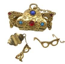 1960's Vintage Estate 14K Gold Etruscan Style Cabochon Glasses Charm Pen... - $449.99