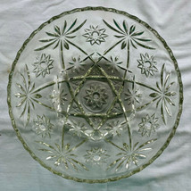 "Anchor Hocking Star of David Presscut Clear Glass Bowl 9"" Early American Vintage - $11.99"