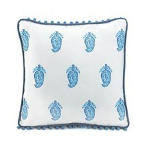 Square Pillow, Tasseled Blue Decorative Modern Fancy Throw Pillows For Sofa - ₨1,747.38 INR