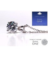 1.00 Carat (6.5mm) Moissanite Forever One DEF Solitaire Pendant Charles&... - $499.00