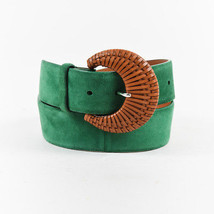 Ralph Lauren Green & Brown Suede Woven Buckle Belt SZ S - $90.00