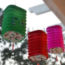 Package of 3 Square Asian Style Chinese Fan Lanterns  Hanging Multi Color - $5.64