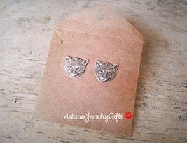 Hypo-Allergenic Cat Stud Earrings Silver Kitten Studs Silver Kitty Earrings - $36.00