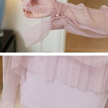 Maternity Dress Solid Color Lace Patchwork Waist Tied Dress image 5