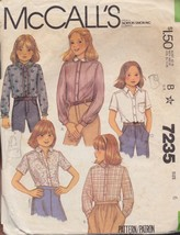 McCall's 7235 Children's and Girl's Shirt Size 6 Short & Long Sleeves 1980 - $3.55